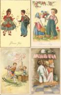 4 Cpa Bonne Fête ,enfants,cheminée Fleurs Cheval De Bois - Otros