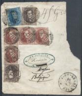 """Frgt De Musson  Affr 10c X2 + 20c + 40c En équerre De 4 Distribution 48 SAINT-LEGER/1859 + """"45 Grs"""". Rare Affrt. - 1858-1862 Medaillons (9/12)"""