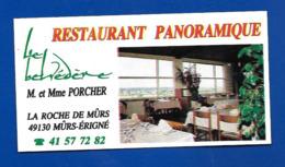 Carte De Restaurant LE BELVEDERE La Roche De Mûrs Mûrs-Erigné 49 - Cartes
