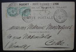 Vivier Au Court (Ardennes) 1903 Peuchet Poste Restante Lyon Maison L. Tillet, Carte Pour Cette (Sète Hérault) - Poststempel (Briefe)