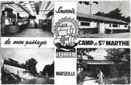D13 - SOUVENIR DE MONT PASSAGE CAMP DE STE MARTHE B.H. - MARSEILLE -CPSM Dentelée Multiples Petit Format Noir & Blanc - Marseilles