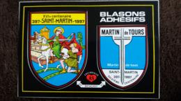 CPM ECUSSON TISSU BLASON ARMOIRIES ADHESIFS AUTOCOLLANT XVI EME CENTENAIRE ST MARTIN DE TOURS 397 1997 ED AS - Tours