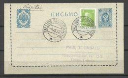 ESTLAND Estonia 1938 Special Cancel Tallinn Raamatunäitus + Michel 114 On Imperial Russian Postal Stationery Cover - Estland