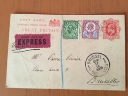 Entier Postal Avec Complément Affranchissement Pour Bruxelles - 1902-1951 (Re)
