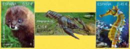 España. Spain. 2016. Fauna Protegida. Visón Europeo Riojano. Cangrejo De Río. Caballito De Mar - 2011-... Nuevos & Fijasellos