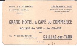 Tarn. Gaillac Sur Tarn.Grand Hôtel & Café Du Commerce - Bourse Des Vins Et Des Grains. T.VERGNON, Propriétaire - Cartes De Visite