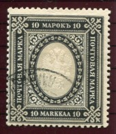 FINLAND 1913 Arms Of Russia 10 Markka On White Paper. Used.  Michel 60 Caw - 1856-1917 Russian Government