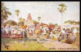 BIRMA - BURMA --- A BURMESE MARKET PLACE  ! - édit. TUCK'S OILETTE POST CARD - SEND 1913 FROM RANGOON - Perfect! - Myanmar (Burma)