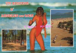 REF 427 : CPM Pin Up Un Bonjour D'Argeles Sur Mer Femme Sexy - Pin-Ups