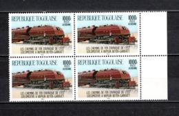 TOGO N° PA 530 EN BLOC DE QUATRE NEUF SANS CHARNIERE COTE  50.00€  TRAIN - Togo (1960-...)