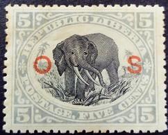Liberia 1900 Animal Elephant Surchargé Overprinted O S Service Yvert S38 * MH - Liberia
