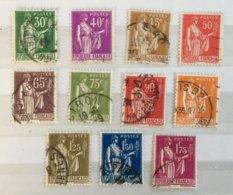 Timbre France 1932-33 YT 280 à 289 Type Paix (°) Obl (côte 12 Euros) – 496 - 1932-39 Vrede