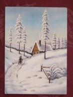 "Czechoslovakia 1992 Postcard ""Greetings Snow Christmas Trees"" To Prague - House - Covers & Documents"