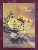 "Czechoslovakia 1992 Postcard ""Grfeetings Peach Apple Grapes"" Prostejov To Germany - House - Covers & Documents"