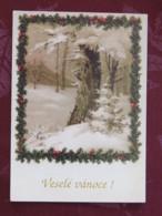 "Czechoslovakia 1992 Postcard ""Greetings Trees In Snow"" Jenec To Prague - Machine Franking - Covers & Documents"