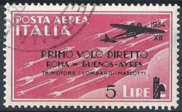 Italia, 1934 Posta Aerea- Roma-Buenos Aires, 5L Su 2L Rosa # Sassone A58 - Michel 461 - Scott C54  USATO - 1900-44 Vittorio Emanuele III