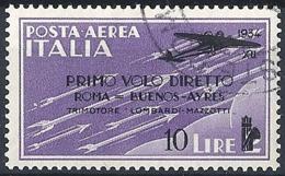 Italia, 1934 Posta Aerea- Roma-Buenos Aires, 10L Su 2L Violetto # Sassone A59 - Michel 462 - Scott C55  USATO - 1900-44 Vittorio Emanuele III