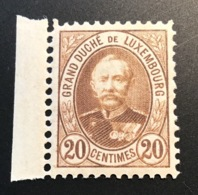 1891 20c BROWN RARE COLOUR ERROR Michel 59 AF = 200€, Mint * XF Expert. THIER  (Luxembourg Yv 61a Brun Foncé Luxemburg - 1891 Adolphe Front Side