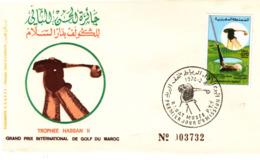 MAROC - GOLF - TROPHEE HASSAN II - GRAND PRIX INTERNATIONAL  1974 - PREMIER JOUR D'EMISSION. - Maroc (1956-...)
