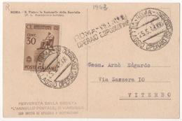 STORIA POSTALE !!! 1943 ANNULLO VILLAGGIO OPERAIO ESPOSIZIONE ROMA !!! - 1900-44 Vittorio Emanuele III