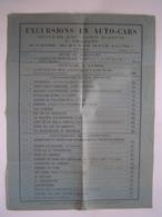 TARIF EXCURSIONS 1935 : AUTOCARS VIGLIANO - ANNECY / MONT BLANC / COTE D' AZUR - Titres De Transport