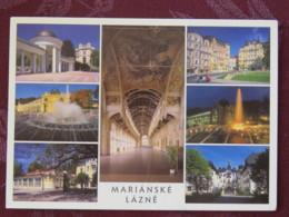 "Czech Rep. 1999 Postcard ""Marianske Lazne Multiview"" To Prague - Comic - Wheel Chair - Tchéquie"