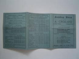 HORAIRES EXCURSIONS 1935 : AUTOBUS BLEUS CROLARD - ANNECY - Titres De Transport