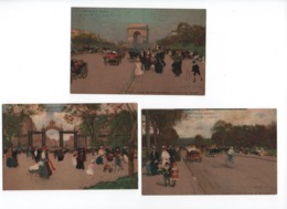 Illustrateurs-  LOIR Luigi- Lot De 5 Cartes  (PARIS Quartiers - En Chromo-lithographie) PUB  Pétrole HAHN  -  CPA - Loir