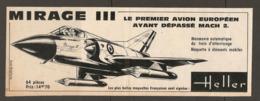 COUPURE De PRESSE 1960 - PUBLICITÉ MAQUETTE HELLER MIRAGE III Le PREMIER AVION EUROPÉEN AYANT DÉPASSÉ MACH 2 - Autres Collections