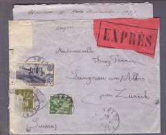 Lettre Par Exprès Asnières 04.11.1939 ->Zurich - Zensur/censored/censure De Belfort + Contenu - Marcophilie (Lettres)