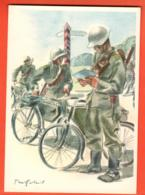 MTX-24 Militär  Radfahrer-Patrouille Cycliste Pattuglia Ciclisti. Velo,Militaire.Gross Format Nicht Gelaufen - Suiza