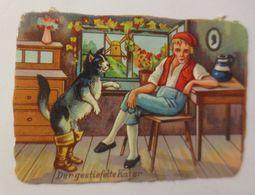 Oblaten, Märchen, Der Gestiefelte Kater, 8,5 Cm X 6 Cm ♥  - Weihnachten