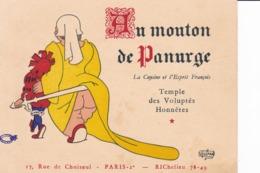 AU MOUTON DE PANURGE - Restaurent Paris 2è - Cartoncini Da Visita