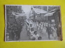 PHOTOGRAPHIE- DÉFILÉ MANIFESTATION SPORTIVE GYMNASTIQUE- RUE DE LA RÉPUBLIQUE/ Rue ZOLA à TARARE- Avant Ou Après WW2 - Tarare