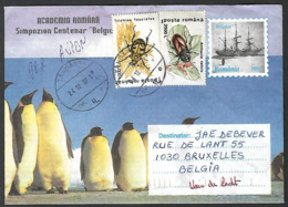 Romania Roemenie Fauna Cover Used Cancelled + Insect Pinguin Pingouin Penguin Boat Belgica - Briefmarken