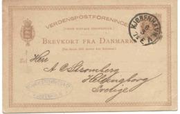 Danemark Entier Copenhague 1885 Lettre Cover Ganzache Stationary - 1864-04 (Christian IX)