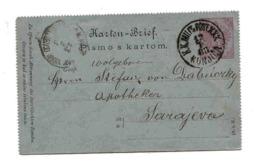 Autriche Austria Bosnie Bosnia Entier Carte Lettre Militaire Konjica Pour Sarajevo 1888 Cover Ganzache Stationary Entête - 1850-1918 Empire