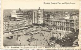 CPA BELGIQUE BRUXELLES  Gare Du Nord Et Place Rogler (animé) - Spoorwegen, Stations
