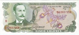 Costa Rica 5 Colones Colones 15-1-1992 Pk 236 E.3 Texto J.VILLA Correcto En Reverso Ref 3027-1 UNC - Costa Rica