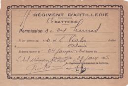 1915 - Régiment D'artillerie - Permission - 1914-18