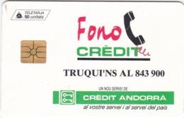 TC089 TÉLÉCARTE A PUCE - ANDORRE 50 UNITÉS - STA - CREDIT ANDORRA - Andorra