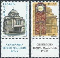 2004 - ITALIA / ITALY- CENTENARIO DEL TEMPIO MAGGIORE IN ROMA / CENTENARY OF THE GREATEST TEMPLE IN ROME. MNH - Emissioni Congiunte