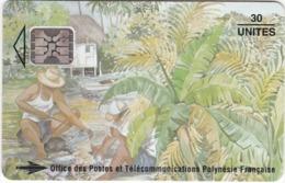 """TC094 TÉLÉCARTE A PUCE - POLYNÉSIE FRANÇAISE 30 UNITÉS - """"LES PÊCHEURS"""" - OFFICE DES POSTES ET TÉLÉCOMMUNICATIONS - Französisch-Polynesien"""