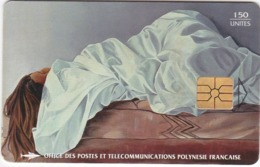 "TC096 TÉLÉCARTE A PUCE - POLYNÉSIE FRANÇAISE 150 UNITÉS - ""LA FEMME ENSEVELIE"" - VAEA 1978 - Frans-Polynesië"