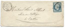 N° 14 BLEU NAPOLEON SUR LETTRE  / MAS CABARDES POUR CASTRES / 14 JANV 1855 - Marcophilie (Lettres)