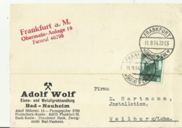 DR  CV  1934 BAD NAUHEIM - Storia Postale