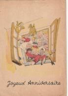 Carte Les Amis De  Spirou Joyeux Anniversaire  - Dessin De Jijé - Circulée  En 1930 - Petite Déchirure En Bas - Comics