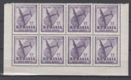 Rumänien Romania Mi# 1099 ** MNH Block Of 8 Plane DC2 1948 - Ungebraucht