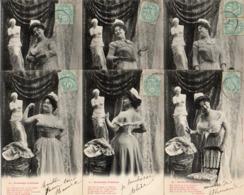 Bergeret Femme, Série De 6 Cartes Soubrette D'artiste - Bergeret