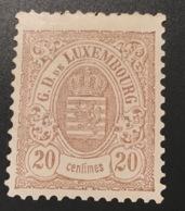 1880 20c Neuf * SUPERBE ! Dentelé 12 1/2:12, Mi 42 B, Yv 44  (Luxembourg Luxemburg XF Mint OG - 1859-1880 Armoiries